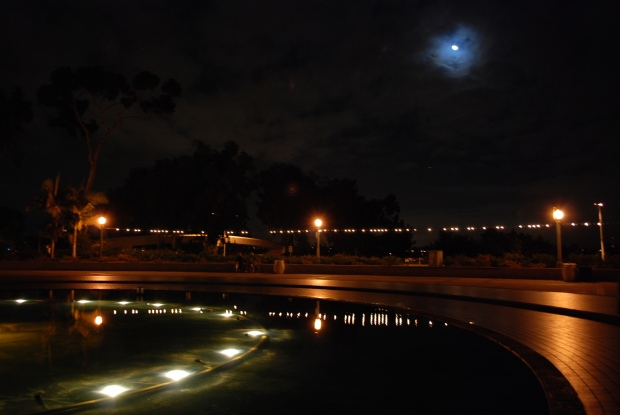 Fountain and Moon
